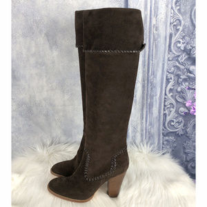 KORS Michael Kors Tall Suede Leather Heel Boots